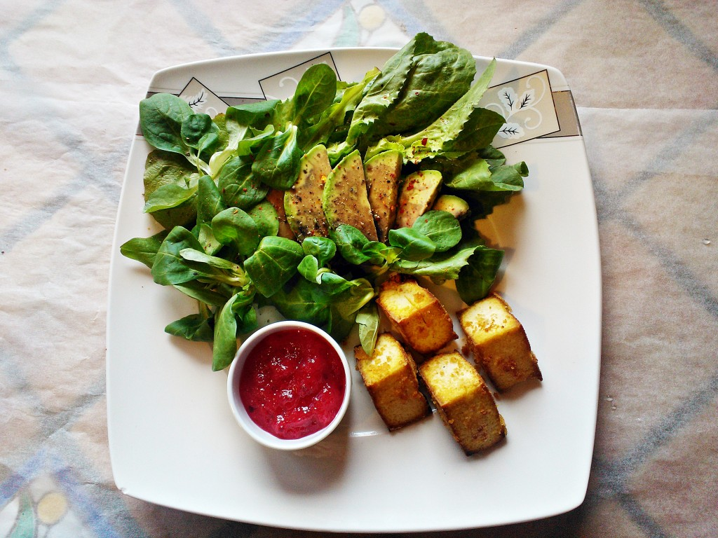 Insalata tofu fritto