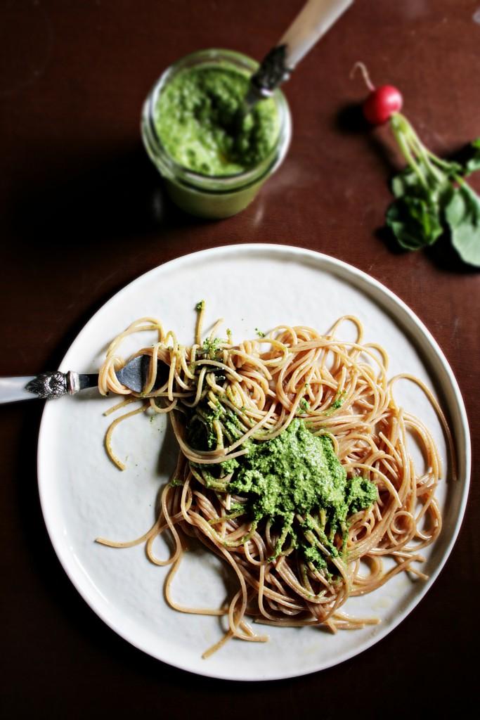 Pesto di ravanelli con spaghehtti